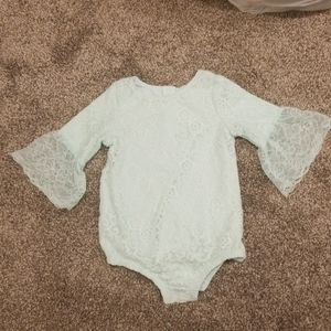 MINT GREEN BELL SLEEVE LACE ONESIE
